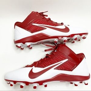 Nike Men's Alpha Pro Football Cleats Red White 15